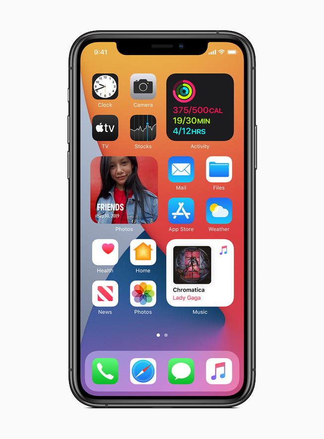 The new Home Screen and widgets in iOS 14 displayed on iPhone 11 Pro.