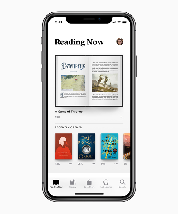 iPhone X showing Reading Now screen in the Apple Books app.