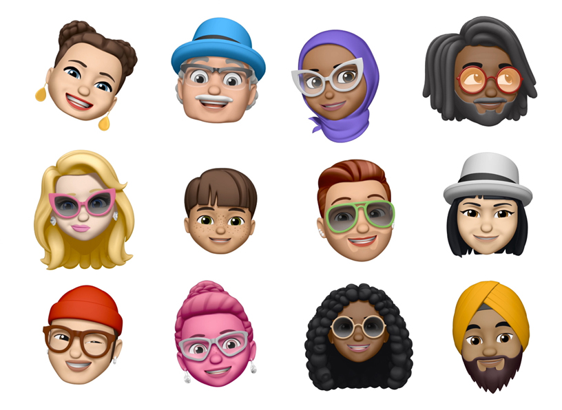 A selection of 12 Memojis.