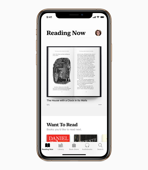 The new Reading Now tab in Apple Books.