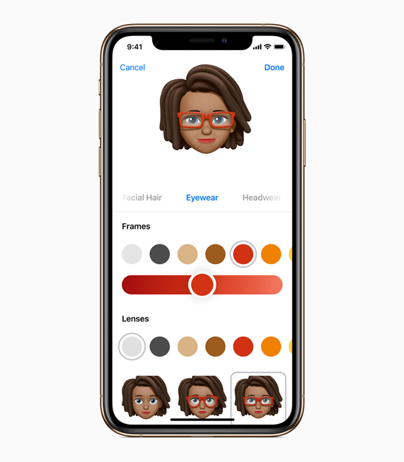 The customization screen for the new Memoji feature available with iOS 12.