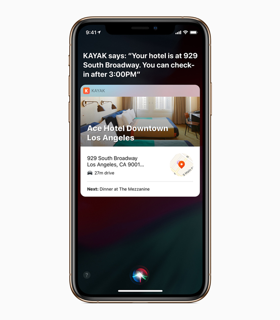 A Siri Shortcuts screen for an upcoming hotel reservation.