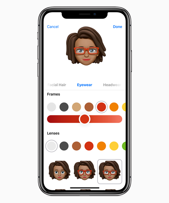 iPhone X showing different eyewear options for a Memoji.