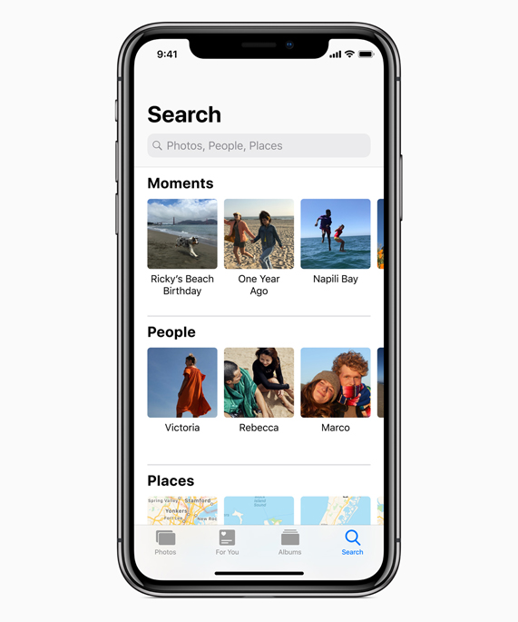 iPhone X showing Photos Search screen with Moments, People and Places.