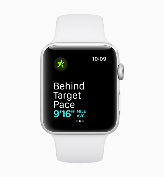 Apple Watch displaying the behind target mile pace feature