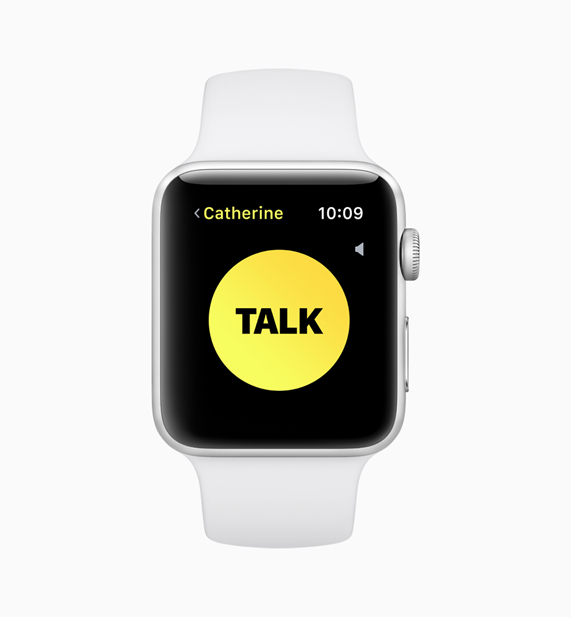 "An Apple Watch displaying the new walkie-talkie feature screen with ""Talk"" button"