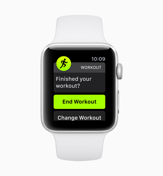 Apple Watch demonstrating the new auto-workout detection feature stop screen