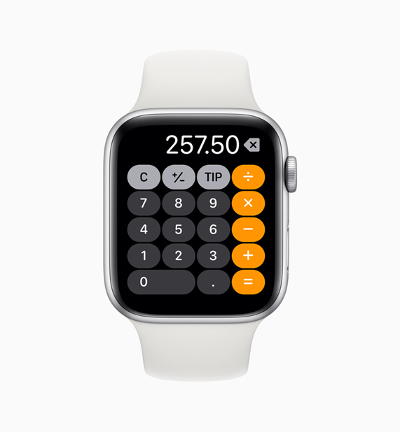Calculator app on Apple Watch.