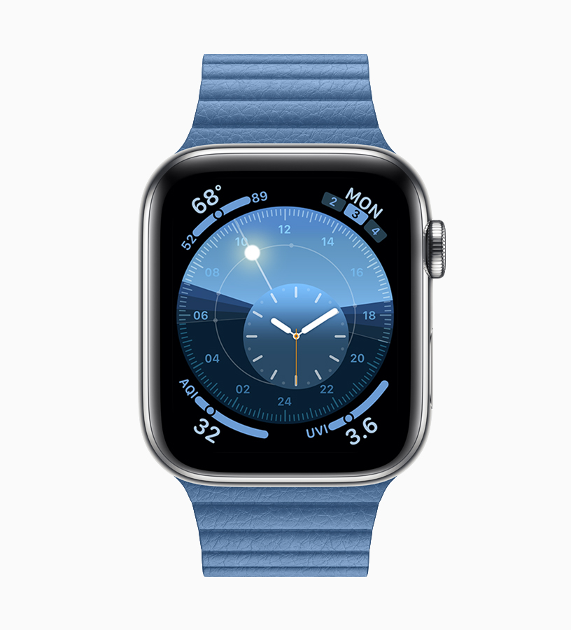 Apple Watch with blue watch band.