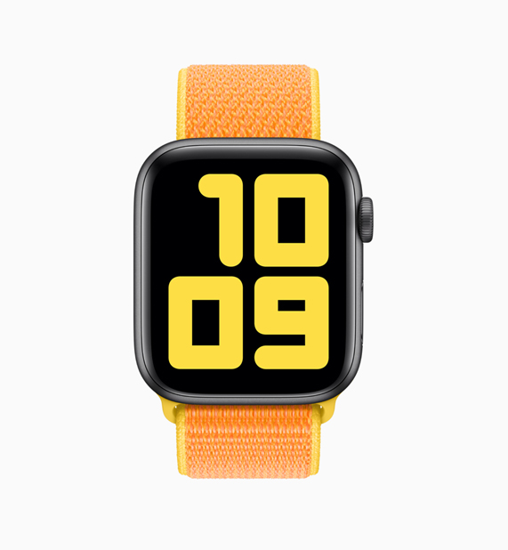 Apple Watch with orange and yellow loop.