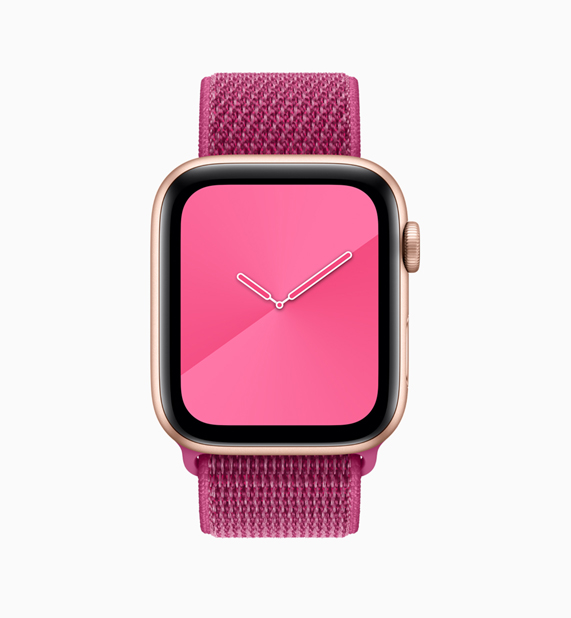 Pink Apple Watch loop and watch face.