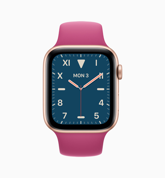 Apple Watch with pink band and blue watch face.