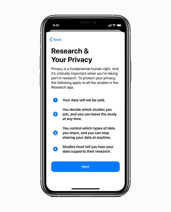 Research app enrollment screen.