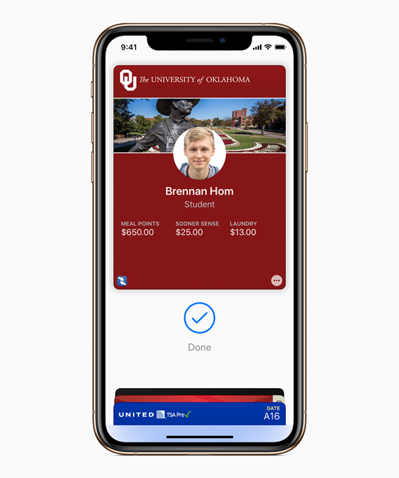 A screenshot of the University of Oklahoma student ID card in Apple Wallet.