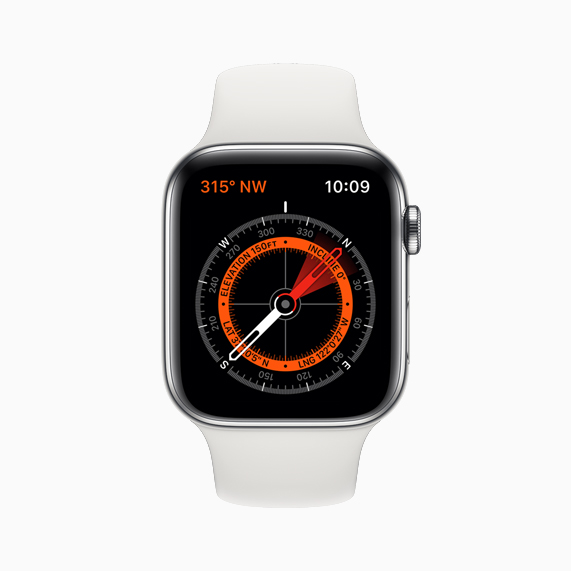 The new Compass app displayed on Apple Watch Series 5.