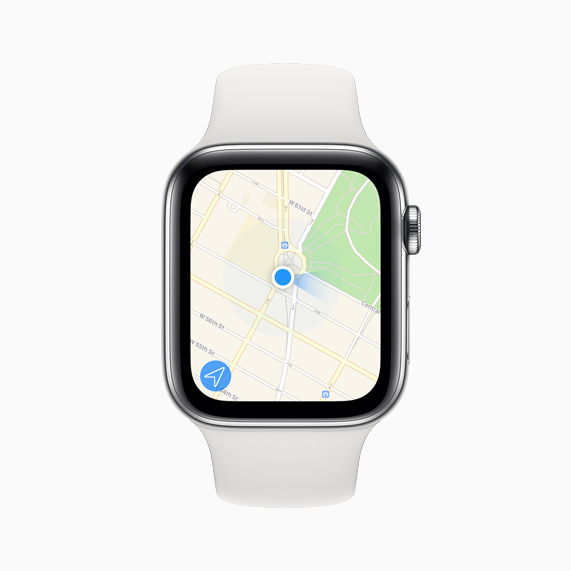 The Maps app displayed on Apple Watch Series 5.