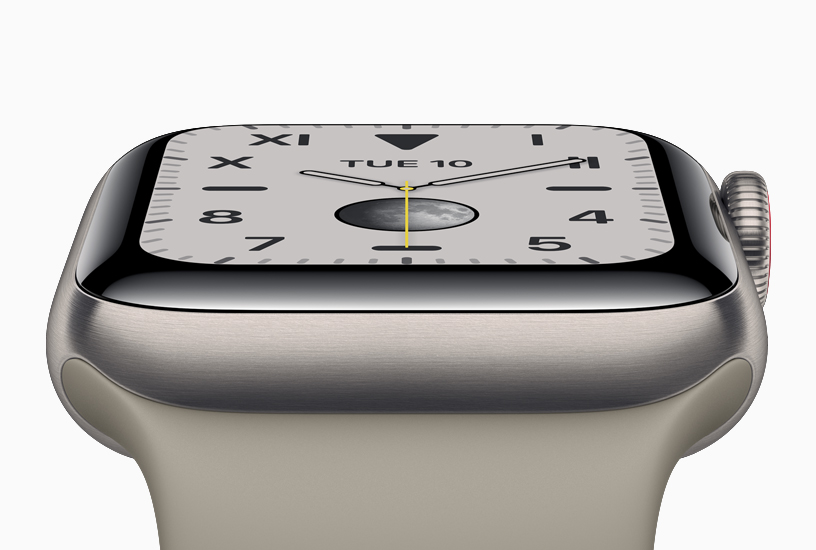 The new Apple Watch Series 5 with a titanium case.