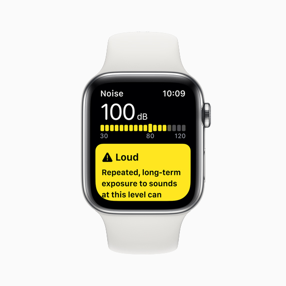 A decibel reading in the new Noise app on Apple Watch Series 5.