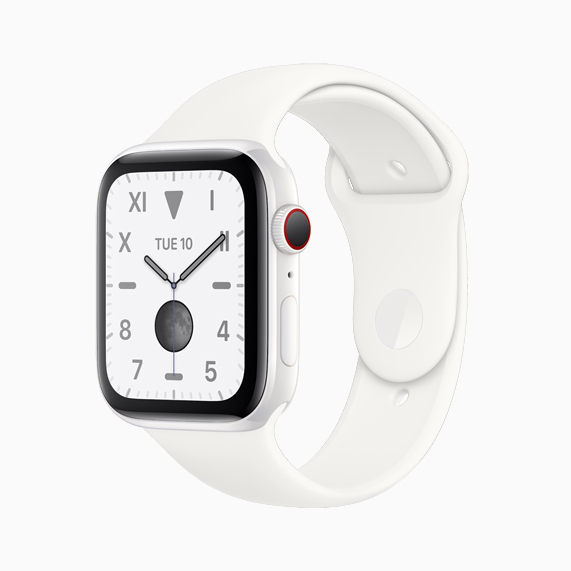 The white ceramic Apple Watch Series 5.