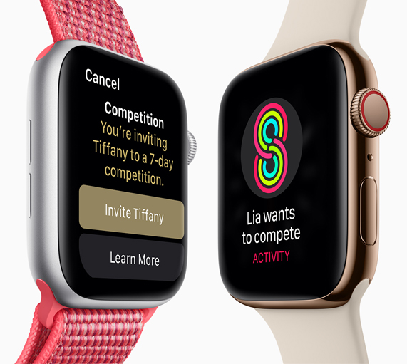 Two Apple Watch Series 4 side by side, showing one user challenging a friend to a competition.