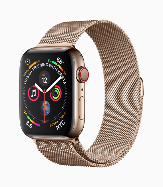 A profile shot of the new gold stainless steel Apple Watch Series 4 and matching Milanese band.