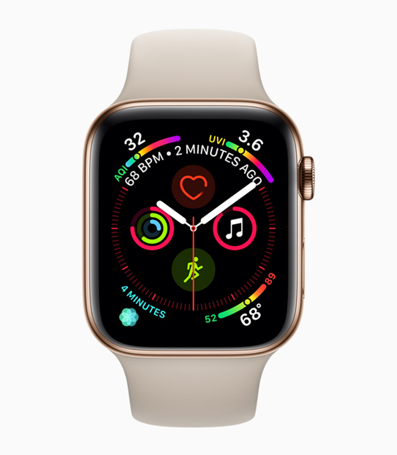 Apple Watch Series 4 display, showcasing larger app icons, buttons and fonts.