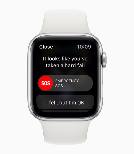 A photo of the fall detection alert on a silver Apple Watch Series 4.