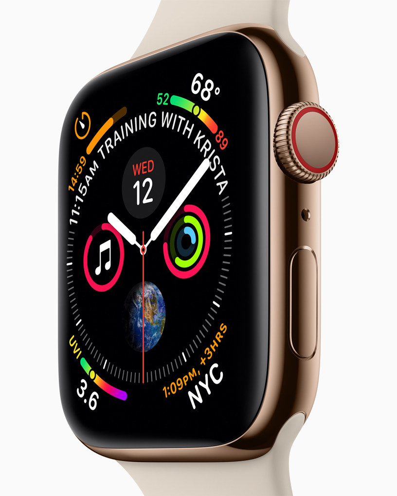 A close-up of the Apple Watch Series 4 watch face and the new Digital Crown.