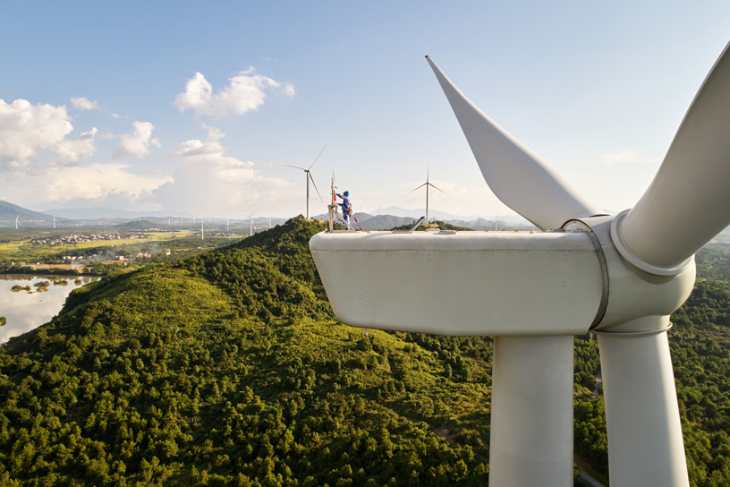 A wind turbine at the Concord Jing Tang wind farm in Dao County in Hunan, China.