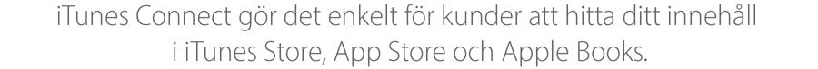 iTunesConnect gör det enkelt att presentera ditt innehåll för kunderna på iTunes Store, App Store och iBooks Store.