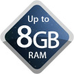 Up to 8GB RAM