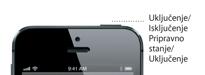Detalj tipke za mirovanje/aktivaciju iPhone 5 uređaja