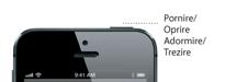 Detaliu cu butonul Adormire/Trezire al dispozitivului iPhone 5