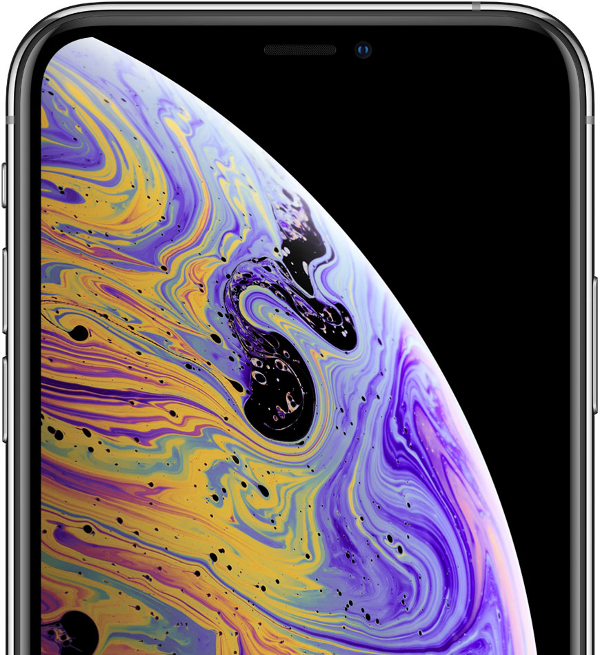 iPhone with abstract wallpaper onscreen