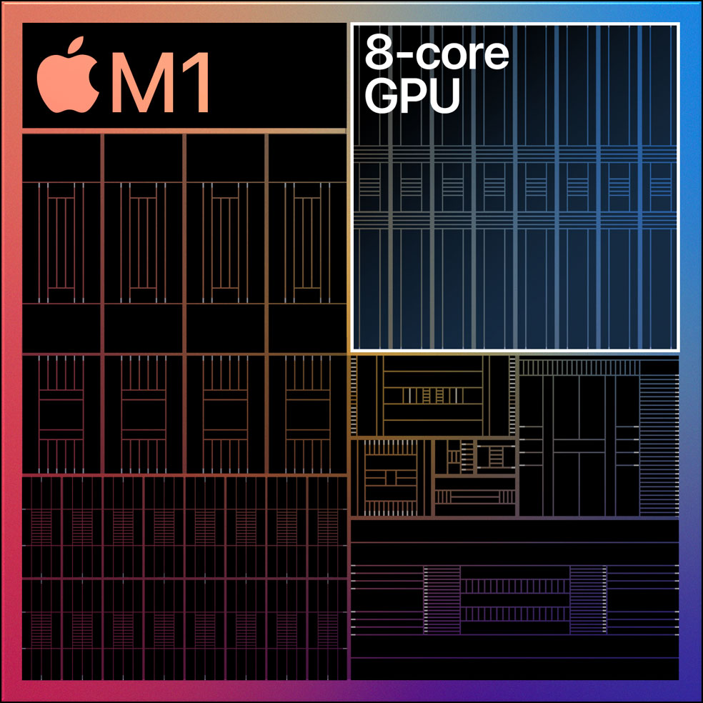 Diagram showing the 8-core GPU on the M1 chip