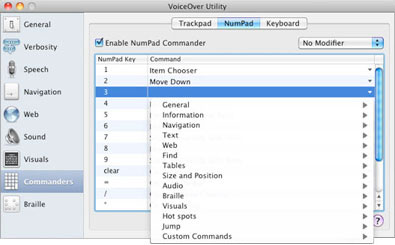 A screen shot of the NumPad Commander. The VoiceOver Utility window, divided vertically into two parts. A sidebar on the left lists categories, preceded by an icon, and an area on the right shows options for the currently selected category. Commanders is the current category in the sidebar and the NumPad pane is selected on the right.¶¶At the top right of the NumPad pane is the Enable NumPad Commander checkbox, which is selected. To the right of that is the Modifier pop-up menu where No Modifier is selected. Below the checkbox and pop-up menu is a table with two columns, from left to right: NumPad Key, Command. The third row is selected and contains 3 in the NumPad Key column and on the right is a pop-up menu of command categories for assigning a command to the 3 key. The command categories from top to bottom are: General, Information, Navigation, Text, Web, Find, Tables, Size and Position, Audio, Braille, Visuals, Hot spots, Jump, Custom Commands. To the right of each category name is an arrow for displaying the commands in each category.