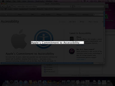 A screen shot of the screen curtain. A darkened screen showing tiled visuals. In the center of the screen is a bright magnified rectangle containing the contents of the VoiceOver cursor, the text Apple's Commitment to Accessibility.