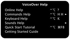 A screen shot of the VoiceOver Help menu. A panel with a black background and white text, titled VoiceOver Help. The Help menu includes these items, from top to bottom: Online Help, Commands Help, Keyboard Help, Sounds Help, Quick Start Tutorial, Getting Started Guide. To the right of each item is the command you use to display the item, or an arrow to access an item's submenu.